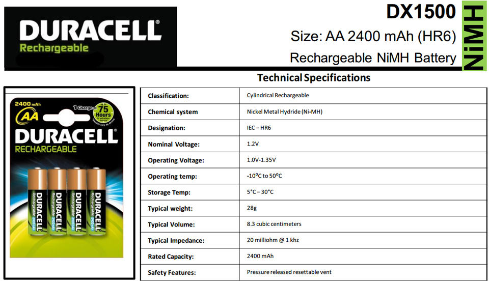 duracell-specifications