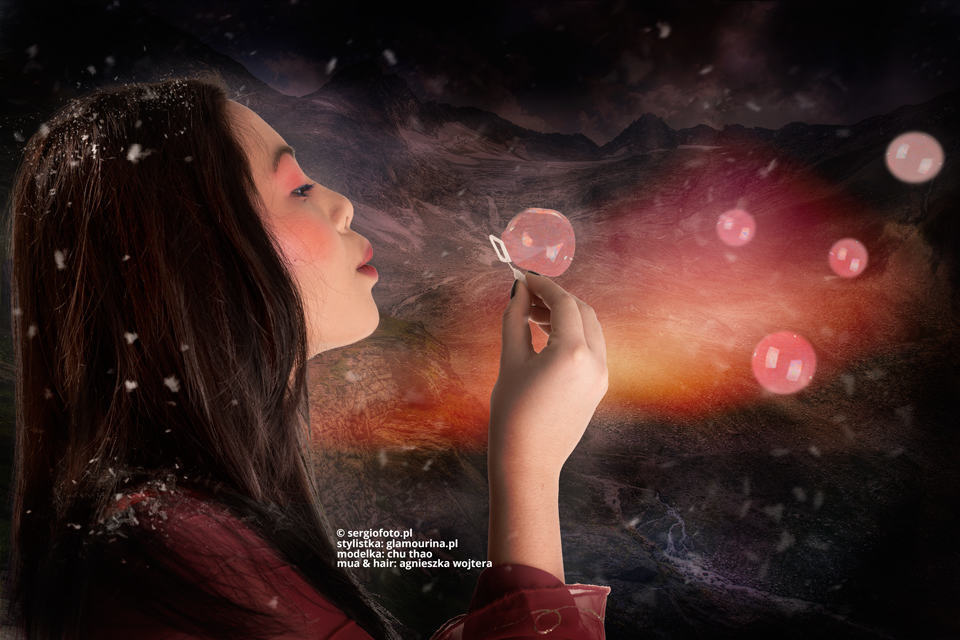 Soap bubbles and model photo